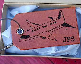Airplane, CustomTravel Tag, Monogrammed, Personalized Baggage Tag, Luggage Tag, Plane, Leather, Gifts for Men, For Him, Boyfriend, Adventure