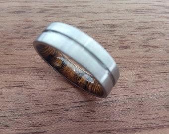 Unique ring for mens, Mens wedding band, Wood ring, Titanium band, Bocote wood, 6mm ring, Brushed finish, Mens engagement ring, Mens gift.