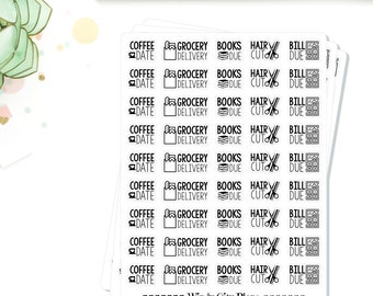 Typography Coffee Date/Book Due/Bills/Haircut/Grocery Planner Stickers