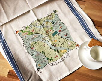 Seattle Map Kitchen/Tea Towel