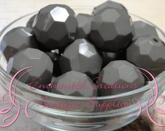 20mm Solid Grey Hexagon Beads 10pcs, Chunky Beads, Bubblegum Beads, Gumball Beads, Gray Faceted Beads, Silver Hexagon Beads