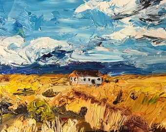 Art Print / House in the Desert / oil painting / New Mexico art / landscape / tiny print / desert art / blue sky