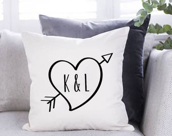 "Personalised Initials Cushion - Wedding Gift - Anniversary Gift - Couple Gift - Personalised Cushion - Typography - 16""x16"""