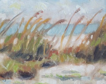 SALE PRICE Original Plein Air Oil Painting Sea Oats Beach Scene