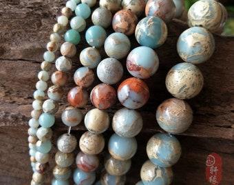 Natural Genuine Impression Jasper Beads, 4-20mm Smooth Round Loose Stone Beads 15''