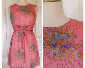 60s floral pink mini dress / 1960s mini dress