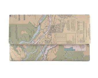 GA: Savannah, GA Nautical Chart Clutch, Map Clutch Bag, Map Purse