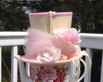 "Alice in Wonderland Centerpiece, Mad Hatter Tea Party Decoration - Pink & Cream Felt Hat, Lace, Pearls (5.5"" Tall) - Baby or Bridal Shower"