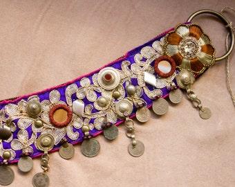 Mauves and White Golds Tribal Fusion Belt  - Purple kuchi coin ATS Belt, Indian Fusion Bellydance Costume Belt, Rennaisance Festival