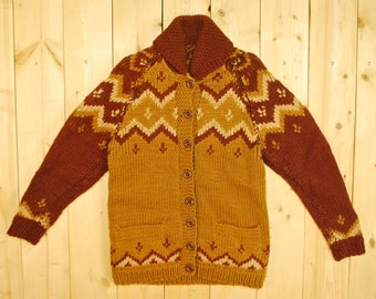 Vintage 1950's Rust Cowichan Sweater / Charlie Brown Pattern / Retro Collectible Rare