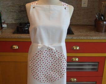 Customized Béarn apron with straps to your size to your liking, cherries, this is the cherry tabb made in France