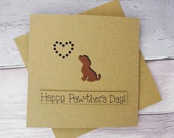 Father's Day Cavalier King Charles Spaniel handmade card, Or chocolate brown Labrador, Beagle or Spaniel puppy dog card, Pun card