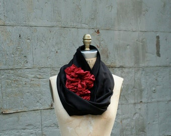Noir Rouge Wool Flower Scarf black wool wrap shawl