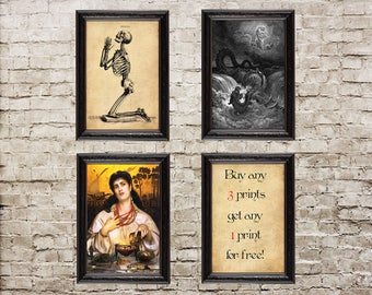 SALE!  Buy any 3 prints - get any 1 print for FREE! Coupon code, Holiday gifts, Samhain,  Halloween, baphomet, satan, occult, witchcraft