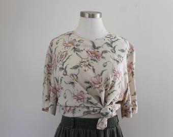 1990s Floral Silk Blouse