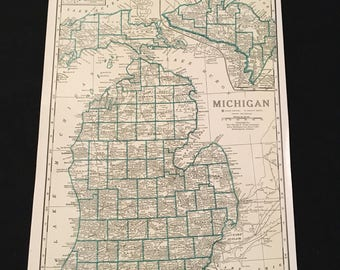 Vintage michigan map etsy vintage map of michigan original vintage map atlas map for framing large color railroad map gumiabroncs Gallery