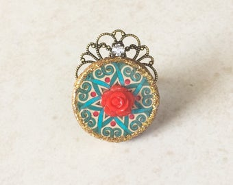 Moroccan Mandala Statement Ring, Red Rose Tile Ring, Turquoise Blue Resin Ring