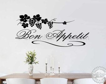 Bon Appetit Kitchen Wall Sticker Quote Decal, Kitchen Dining Room Home Wall Decal with Grapevine