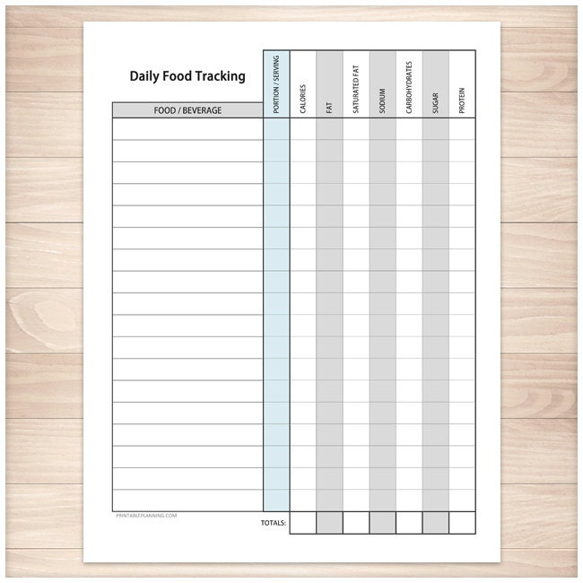 Printable Food Tracking Sheet Healthy Eating Daily Calorie