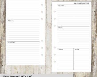 Filofax 2018-2019 Personal Week on Two Pages WO2P Lined Printable