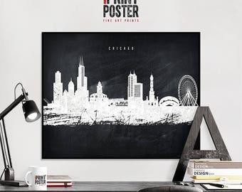 Chicago art print, Chicago poster, Chicago skyline art, Chicago chalkboard wall art, travel decor, home decor, iPrintPoster
