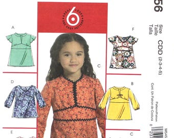 Girl's Tops with Tie Belt Size 2 3 4 5 McCalls M5456 Sewing Pattern