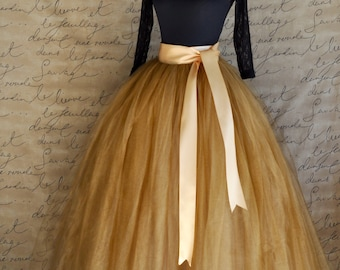 Full length antique gold tulle skirt. Antique gold tulle lined in champagne  for women. Weddings and formal wear.