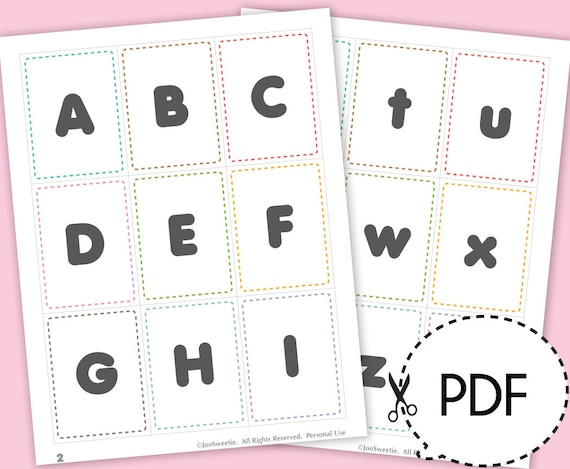 Alphabet Flash Cards Printable PDF Download From JooSweetieToo On Etsy Studio