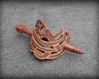 Hairpins Leather barrette, leather decoration, leather goods, artistic carving, leather hairpin