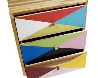 Multicolor Recycled Timber 3 Drawer Cabinet Dresser