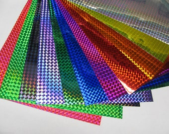 Holographic 1/4 Mosaic Prism Sign Vinyl,Plastic Sheeting, Adhesive Coated,  Choose Your Size and Color