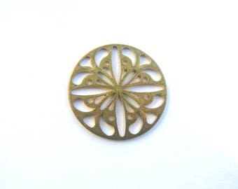 6 Vintage filigree jewelry finding 25mm