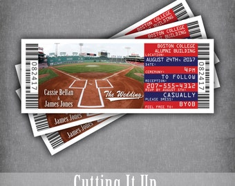 Baseball Wedding Invitations Sports Ticket Invitation Set