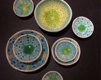PORCELAIN URCHIN DISHES - set of 8 beautiful hand made and glazed dishes