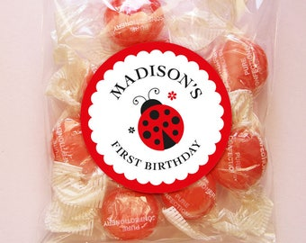Personalized Ladybug Party Tags or Stickers – 2, 2.5 or 3 Inch Circle – DIY Printable  (Digital File)