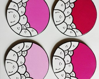Pink Shades - Chep Coasters - Set of 4