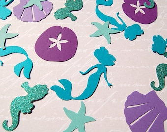 150 mermaid sea creature shell sand dollar starfish  table die cut confetti mermaid birthday party table scatter