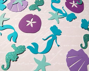 150 mermaid sea creature shell sand dollar starfish  table die cut confetti mermaid birthday party table scatter