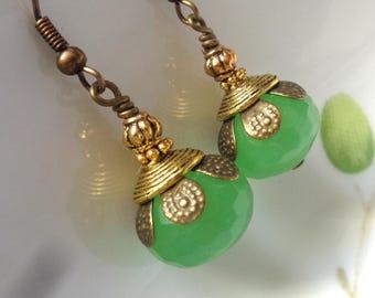 Green Earrings, Mint Green Earrings, Green Chalcedony Earrings, Green Stone Earrings, Gemstone Earrings, Green Dangle Earrings