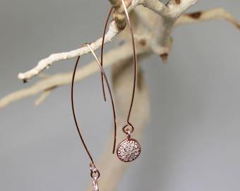 Pavé Diamond Disk Earrings Rose Gold Earrings Precious Diamond Earrings Real Diamond Earrings April Birthstone Earrings PD-E-104-rg/rgM