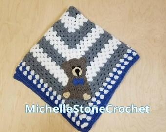 Crochet baby bear blanket - baby bear blanket - handmade baby blanket - bear blanket - bear