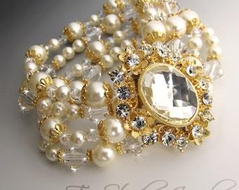 Gold Tone Pearl and Crystal Bridal Bracelet Multi Strand Wedding Cuff with Rhinestone Crystal Brooch - ASHLEY
