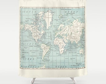 World map shower curtain modern geography colorful blue and white map shower curtain historical blue and off white vintage map gumiabroncs Images