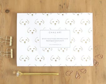 Dog wrapping paper, Dog gift wrap, Dog lover gift, Labrador owner gift, Gold foil wrapping paper, Gold foil gift wrap, Minimal gift wrap
