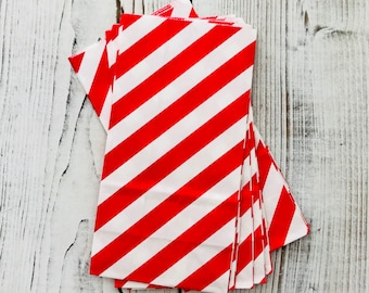 Red diagonal stripe Paper bag, set of 10 - Red Stripe Treat bags - SOS red party bags - Candy buffet treat bags - Red Stripe party bags