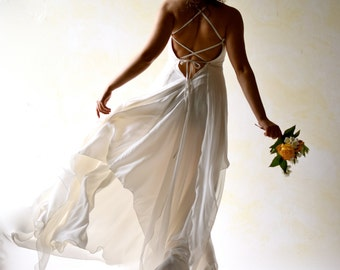 Wedding Dress, Backless wedding dress, Beach Wedding Dress, Boho Wedding dress, Fairy Wedding Dress, Alternative wedding dress, Silk dress