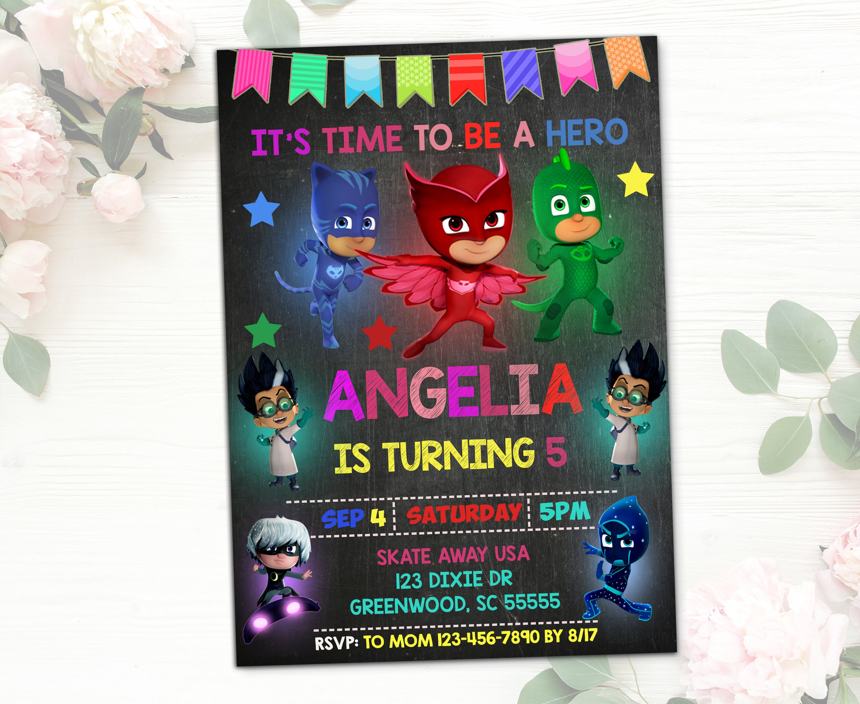 PJ masks Invitations for girl Pj masks Birthday PJ masks