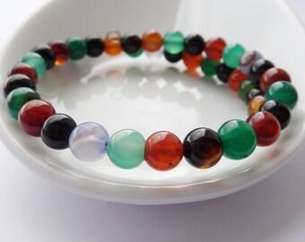 Beaded Bracelet - Agate Bracelet - Gift for Her - Multicoloured Gemstone Bangle - Stacking Bracelet - UK Jewellery
