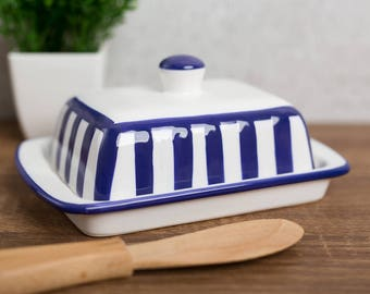Navy Stripe Butter Dish with Lid, Ceramic Butter Keeper, European Style Blue, Covered Stoneware Handmade Pottery, Housewarming Gift