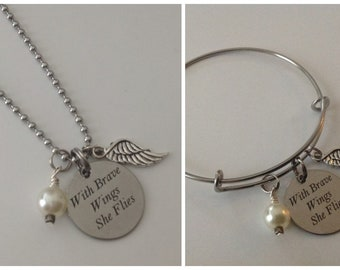 With Brave Wings She Flies, Sentiment Necklace or Bangle, Gift for Her, Inspirational Quote, Stainless, Stainless Engraved Charm, Wing Charm